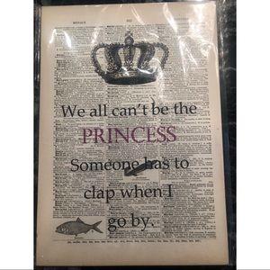 Vintage Dictionary Art, Princess, NWT